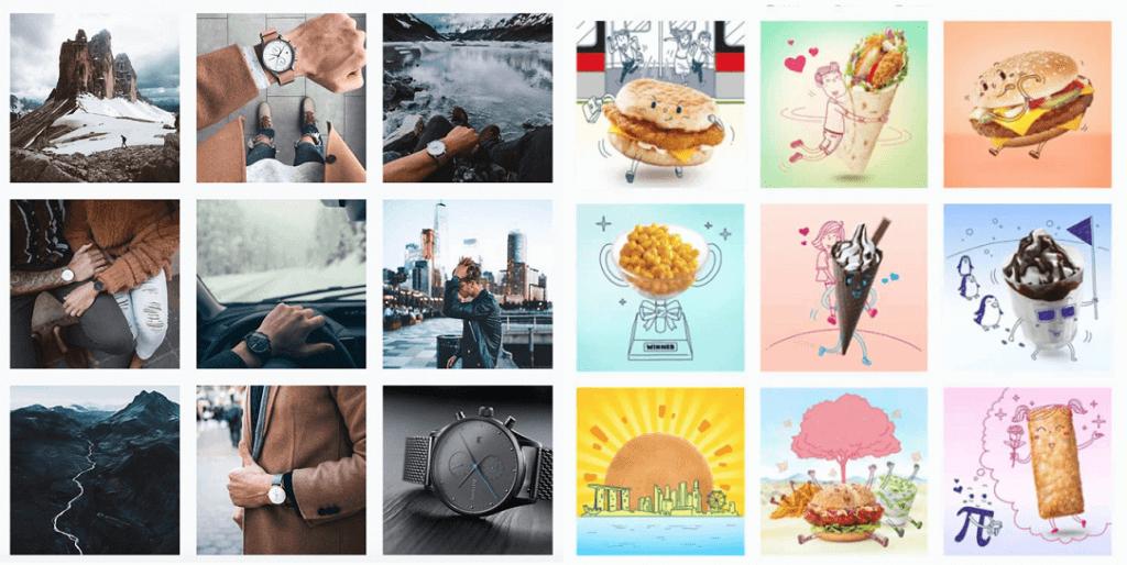 Примеры лент Instagram с последовательными цветовыми схемами