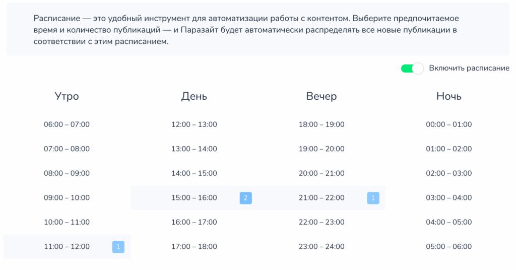 расписание в отложенном постинге ВКонтакте
