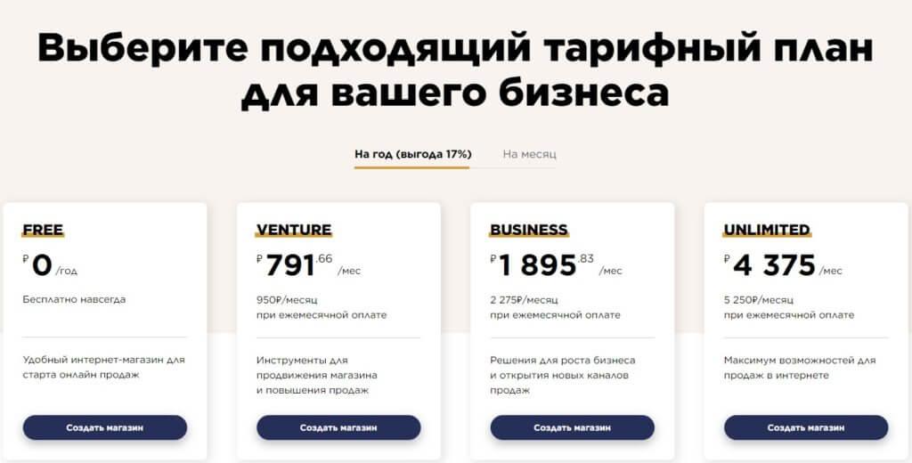 Ecwid тарифы на конструктор сайтов