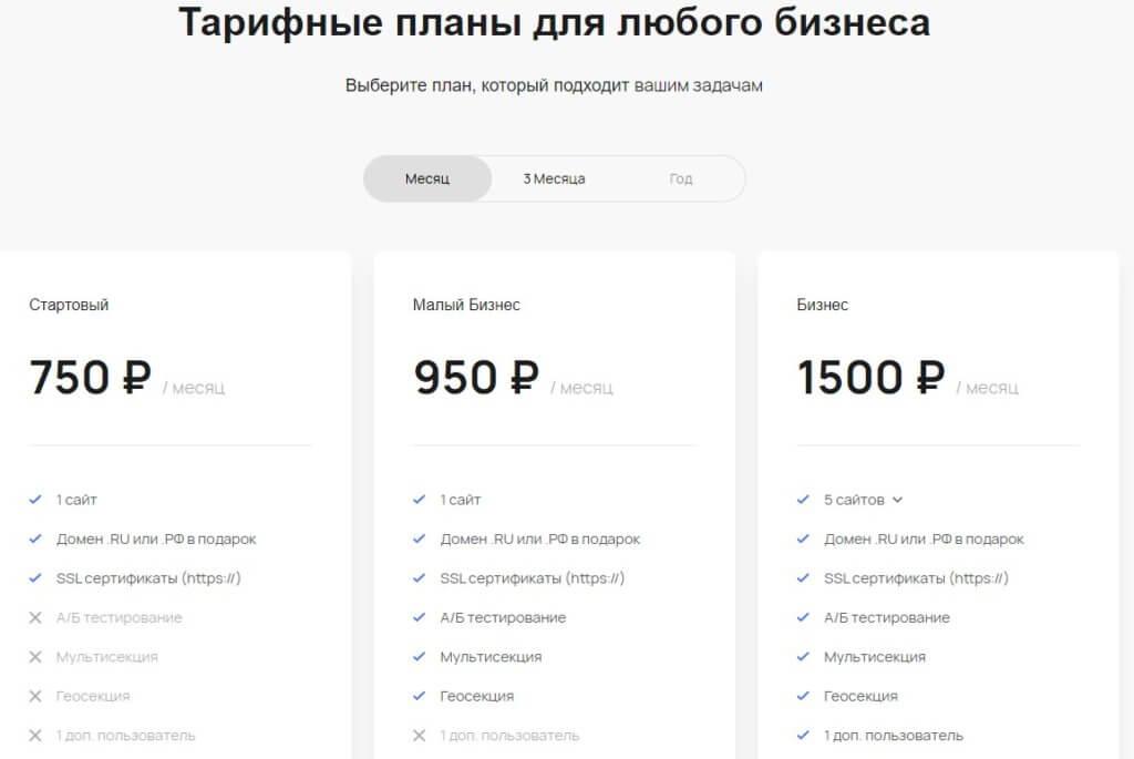 Flexbe конструктор сайтов тарифные планы