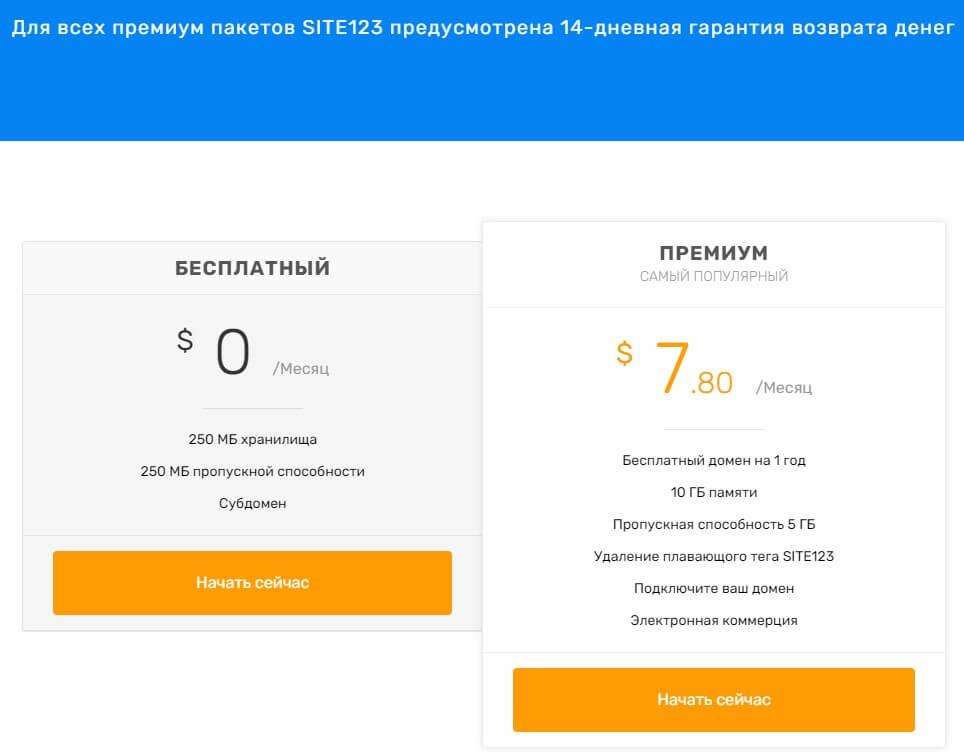SITE 123 цены на конструкторы сайтов