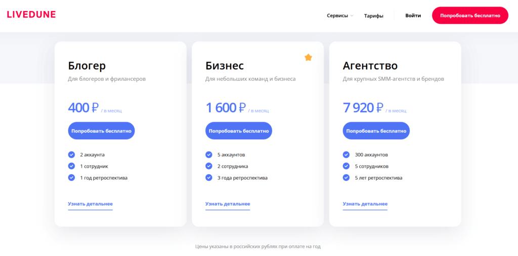 livedune публикация контента тарифы